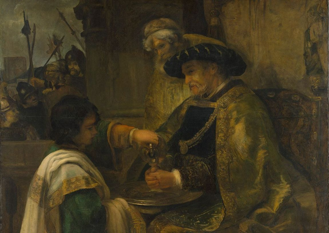 Rembrandt: Pilate Washing his Hands. Fine Art Print/Poster. Sizes: A4/A3/A2/A1 (004306)